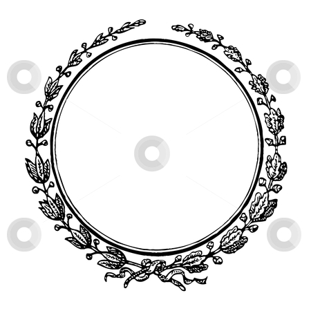 Blank decorative seal or stamp stock photo, Illustration of antique blank decorative seal or stamp; isolated on white background. by Martin Crowdy