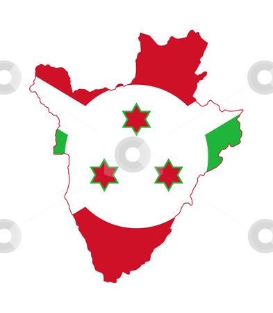 Burundi flag map stock photo, Illustration of Burundi flag on map of country; isolated on white background. by Martin Crowdy