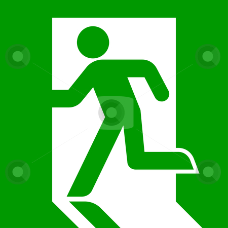 Emergency exit sign stock photo, Green emergency exit sign or symbol; isolated on white background. by Martin Crowdy
