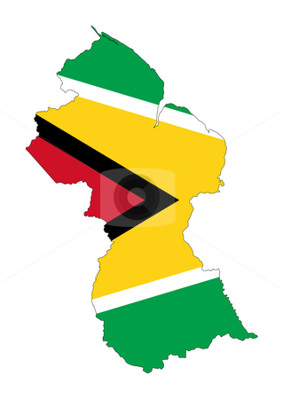 Guyana flag on map stock photo, Illustration of the Guyana flag on map of country; isolated on white background. by Martin Crowdy
