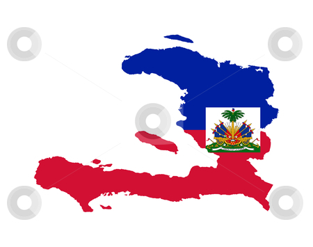 Haiti flag on map stock photo, Illustration of the Haiti flag on map of country; isolated on white background. by Martin Crowdy