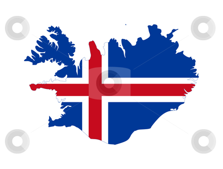 Iceland flag on map stock photo, Illustration of the Icelad flag on map of country; isolated on white background. by Martin Crowdy