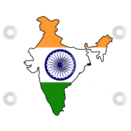 India flag on map stock photo, Illustration of the India flag on map of country; isolated on white background. by Martin Crowdy