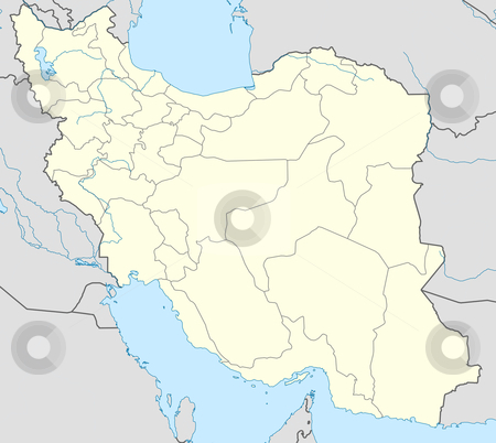 Iran map stock photo, Illustration of country of Iran map showing borders. by Martin Crowdy