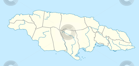 Jamaica map stock photo, Illustration of country of Jamaica map showing state borders. by Martin Crowdy