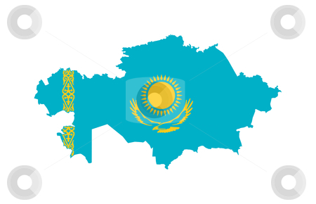 Kazakhstan flag on map stock photo, Illustration of the Kazakhstan flag on map of country; isolated on white background. by Martin Crowdy