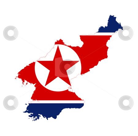 North Korea flag on map stock photo, Illustration of the North Korea flag on map of country; isolated on white background. by Martin Crowdy