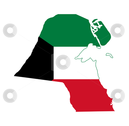 Kuwait flag on map stock photo, Illustration of the Kuwait flag on map of country; isolated on white background. by Martin Crowdy