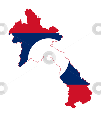 Laos flag on map stock photo, Illustration of the Laos flag on map of country; isolated on white background. by Martin Crowdy