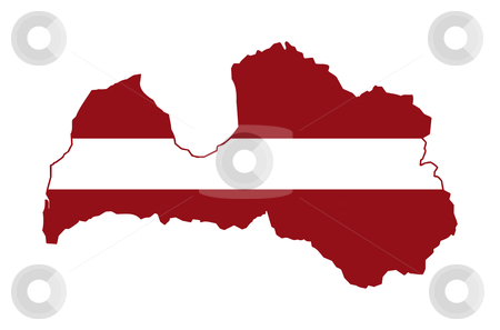 Latvia flag on map stock photo, Illustration of the Latvia flag on map of country; isolated on white background. by Martin Crowdy