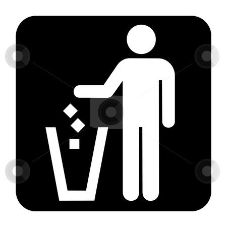 Litter disposal sign stock photo, Litter disposal sign or symbol; isolated on white background. by Martin Crowdy