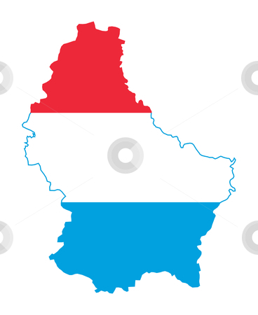 Luxembourg map on flag stock photo, Illustration of the Luxembourg flag on map of country; isolated on white background. by Martin Crowdy