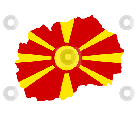Macedonia flag on map stock photo, Illustration of the Macedonia flag on map of country; isolated on white background. by Martin Crowdy