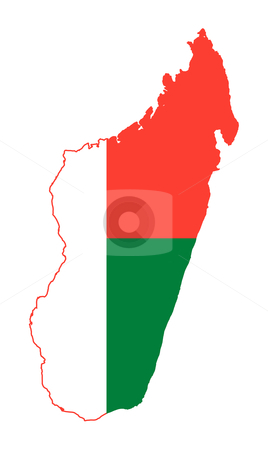Madagascar flag on map stock photo, Illustration of the Madagascar flag on map of country; isolated on white background. by Martin Crowdy