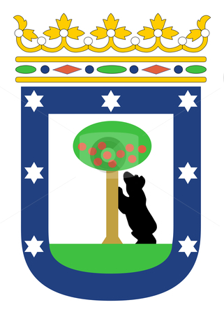 Madrid coat of arms stock photo, Illustration of Madrid city coat of arms, Spain. by Martin Crowdy
