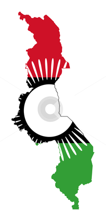 Malawi flag on map stock photo, Illustration of the Malawi flag on map of country; isolated on white background. by Martin Crowdy