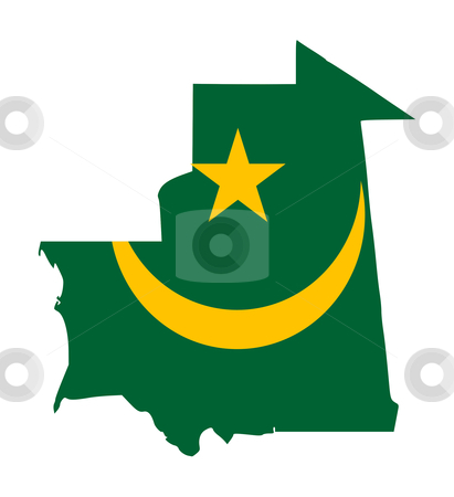 Mauritania flag on map stock photo, Illustration of the Mauritania flag on map of country; isolated on white background. by Martin Crowdy