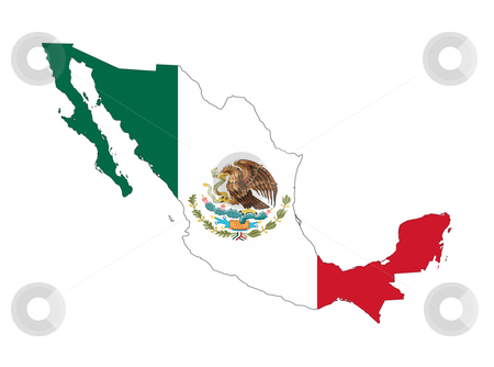 Mexico flag on country map stock photo, Illustration of Mexico flag on map of country; isolated on white background. by Martin Crowdy