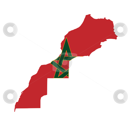 Morocco flag on map stock photo, Illustration of the Morocco flag on map of country; isolated on white background. by Martin Crowdy