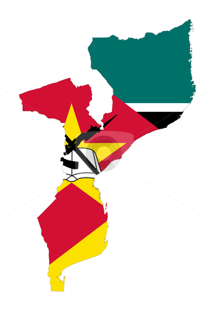 Mozambique flag on map stock photo, Illustration of the Mozambique flag on map of country; isolated on white background. by Martin Crowdy