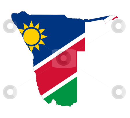 Namibia flag on map stock photo, Illustration of the Namibia flag on map of country; isolated on white background. by Martin Crowdy