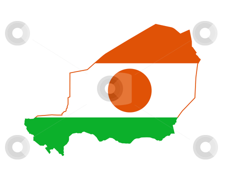 Niger flag on map stock photo, Illustration of the Niger flag on map of country; isolated on white background. by Martin Crowdy