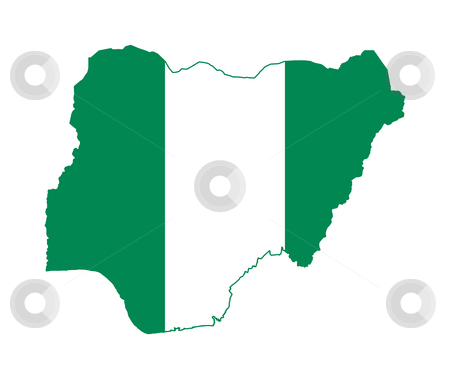 Nigeria flag on map stock photo, Illustration of the Nigeria flag on map of country; isolated on white background. by Martin Crowdy