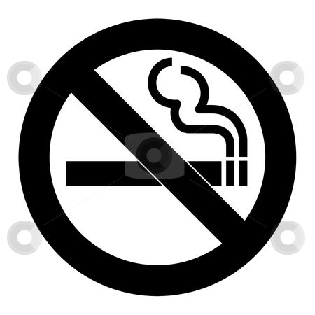 No smoking sign stock photo, No smoking sign or symbol; isolated on white background. by Martin Crowdy