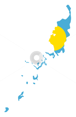 Palau Islands flag on map stock photo, Illustration of the Palau Islands flag on map of country; isolated on white background. by Martin Crowdy