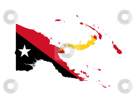 Papua New Guinea stock photo, Illustration of the Papua New Guinsea flag on map of country; isolated on white background. by Martin Crowdy