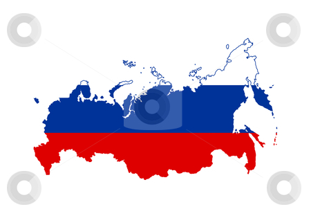Russian Federation flag on map stock photo, Illustration of the Russian Federation flag on map of country; isolated on white background. by Martin Crowdy