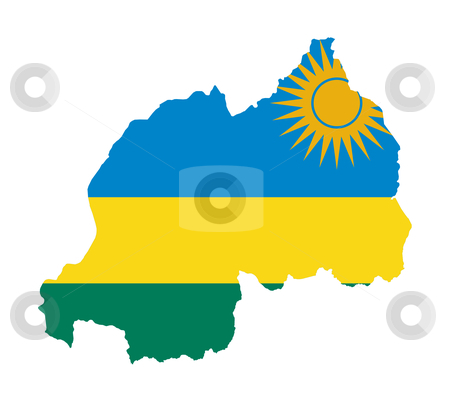 Rwanda flag on map stock photo, Illustration of the Rwanda flag on map of country; isolated on white background. by Martin Crowdy