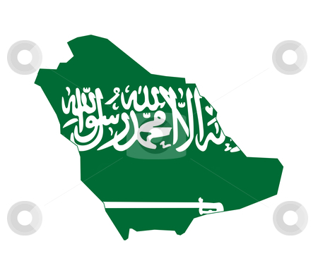 Saudi Arabia map flag stock photo, Illustration of the Saudi Arabia flag on map of country; isolated on white background. by Martin Crowdy
