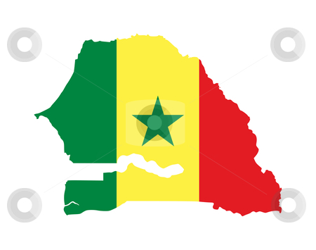 Senegal map flag stock photo, Illustration of the Senegal flag on map of country; isolated on white background. by Martin Crowdy