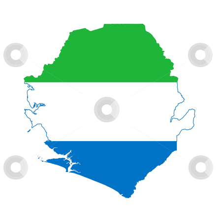 Sierra Leone stock photo, Illustration of the Sierre Leone flag on map of country; isolated on white background. by Martin Crowdy