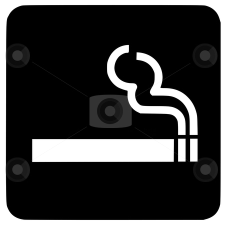 Smoking sign stock photo, Smoking button sign or symbol; isolated on white background. by Martin Crowdy