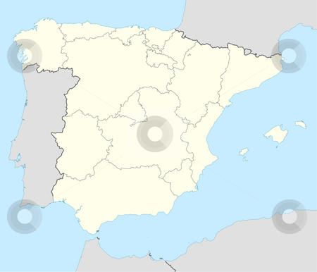 Spain map stock photo, Illustrated map of the country of Spain showing the state borders. by Martin Crowdy