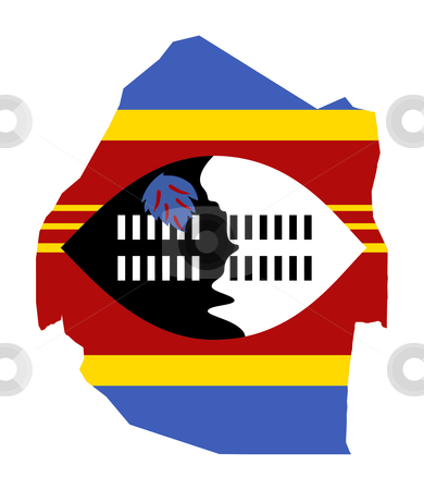 Swaziland map flag stock photo, Illustration of the Swaziland flag on map of country; isolated on white background. by Martin Crowdy