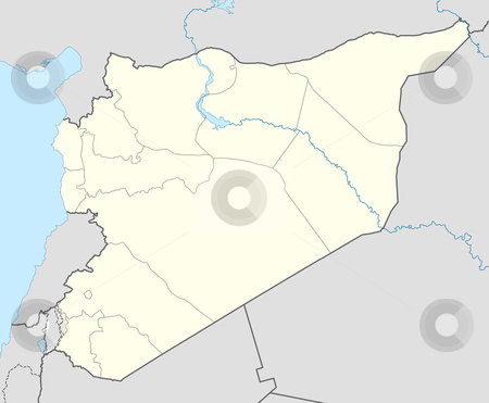 Syria map stock photo, Illustration of country of Syria map showing state borders. by Martin Crowdy