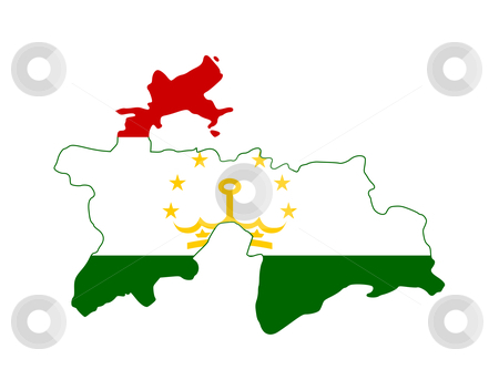 Tajikistan flag on map stock photo, Illustration of the Tajikistan flag on map of country; isolated on white background. by Martin Crowdy