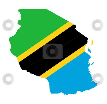 Tanzania flag on map stock photo, Illustration of the Tanzania flag on map of country; isolated on white background. by Martin Crowdy