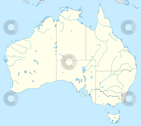 Australia map stock photo, Illustration of country of Australia map showing state borders. by Martin Crowdy