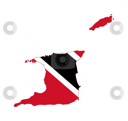 Trinidad and Tobago stock photo, Illustration of the Trinidad and Tobago flag on map of country; isolated on white background. by Martin Crowdy
