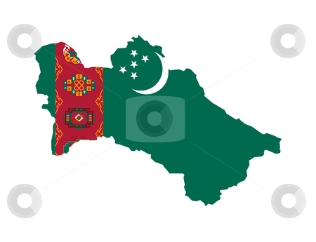 Turkemistan flag on map stock photo, Illustration of the Turkmenistan flag on map of country; isolated on white background. by Martin Crowdy