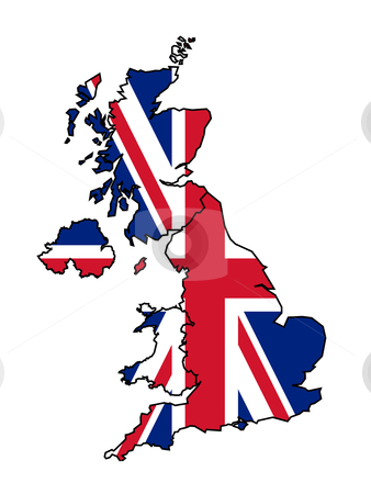 UK Map with flag stock photo, Illustration of United Kingdom flag on map of country; isolated on white background. by Martin Crowdy