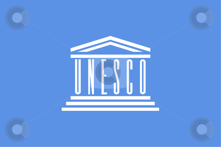 Unesco Flag stock photo, Illustration of the blue UNESCO flag or banner. by Martin Crowdy