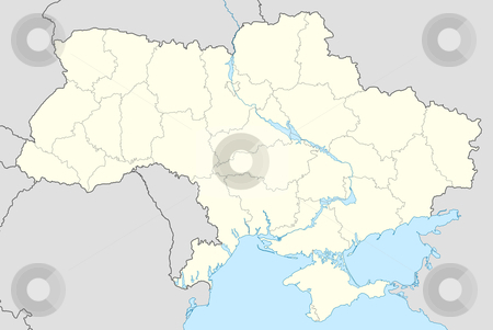 Ukraine map stock photo, Illustration of country of Ukraine map showing state borders. by Martin Crowdy