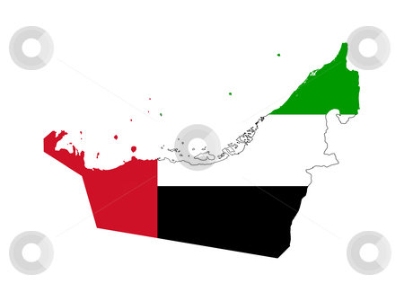 United Arab Emirates flag on map stock photo, Illustration of the United Arab Emirates flag on map of country; isolated on white background. by Martin Crowdy