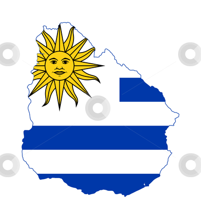 Uruguary flag on map stock photo, Illustration of the Uruguay flag on map of country; isolated on white background. by Martin Crowdy