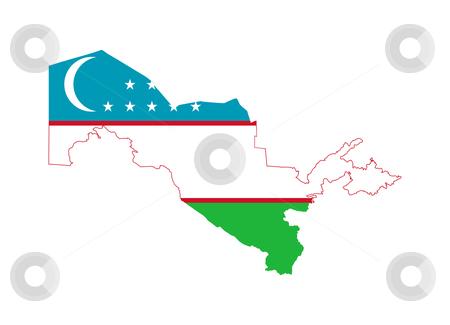 Uzbekistan flag on map stock photo, Illustration of the Uzbekistan flag on map of country; isolated on white background. by Martin Crowdy